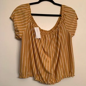 American Eagle NWT Cropped Yellow Striped Top XXL